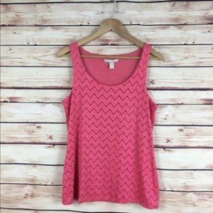 Banana Republic Chevron Tank Top Pink Lace Medium